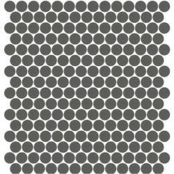 Mosaïque Unicolor ronde diamètre 2,3cm gris foncé 260 mat ou brillant ou antidérapant sur trame nylon 33,3x33,3cm