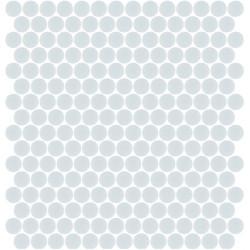 Mosaïque Unicolor ronde diamètre 2,3cm bleu pâle 316 mat ou brillant ou antidérapant sur trame nylon 33,3x33,3cm