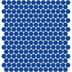 Mosaïque Unicolor ronde diamètre 2,3cm vert jaune 301 mat ou brillant ou antidérapant sur trame nylon 33,3x33,3cm