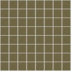 Mosaïque Unicolor carré 3,8x3,8cm kaki clair 307 mat ou brillant ou antidérapant sur trame nylon 32x32cm