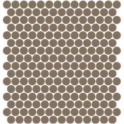 Mosaïque Unicolor ronde diamètre 2,3cm gris 108 mat ou brillant ou antidérapant sur trame nylon 33,3x33,3cm