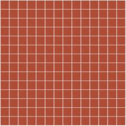 Mosaïque Unicolor 2,3x2,3cm rouge orangé 172 mat ou brillant ou antidérapant sur trame nylon 33,3x33,3cm