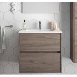 Meuble bain suspendu Noja 600 et 700, stratifié bois ou laqué avec plan vasque céramique et 2 tiroirs