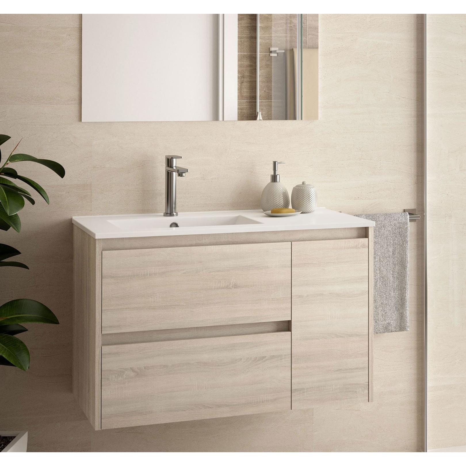 Meuble bain suspendu Noja 855, stratifié bois ou laqué avec plan vasque céramique