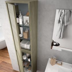 Colonne de rangement bain suspendue Noja Auxiliaire 2 portes, stratifié bois ou laqué