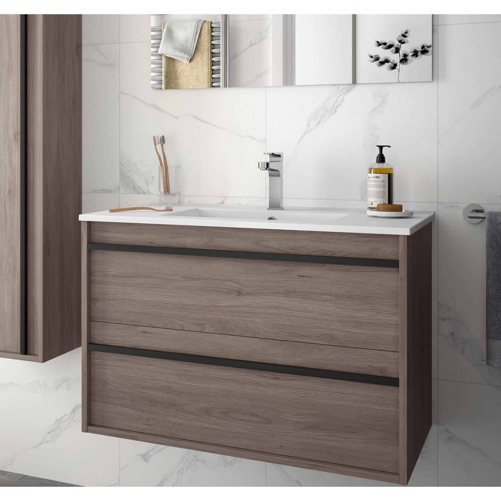 Meuble bain suspendu Attila 800 stratifié bois ou laqué avec plan vasque céramique