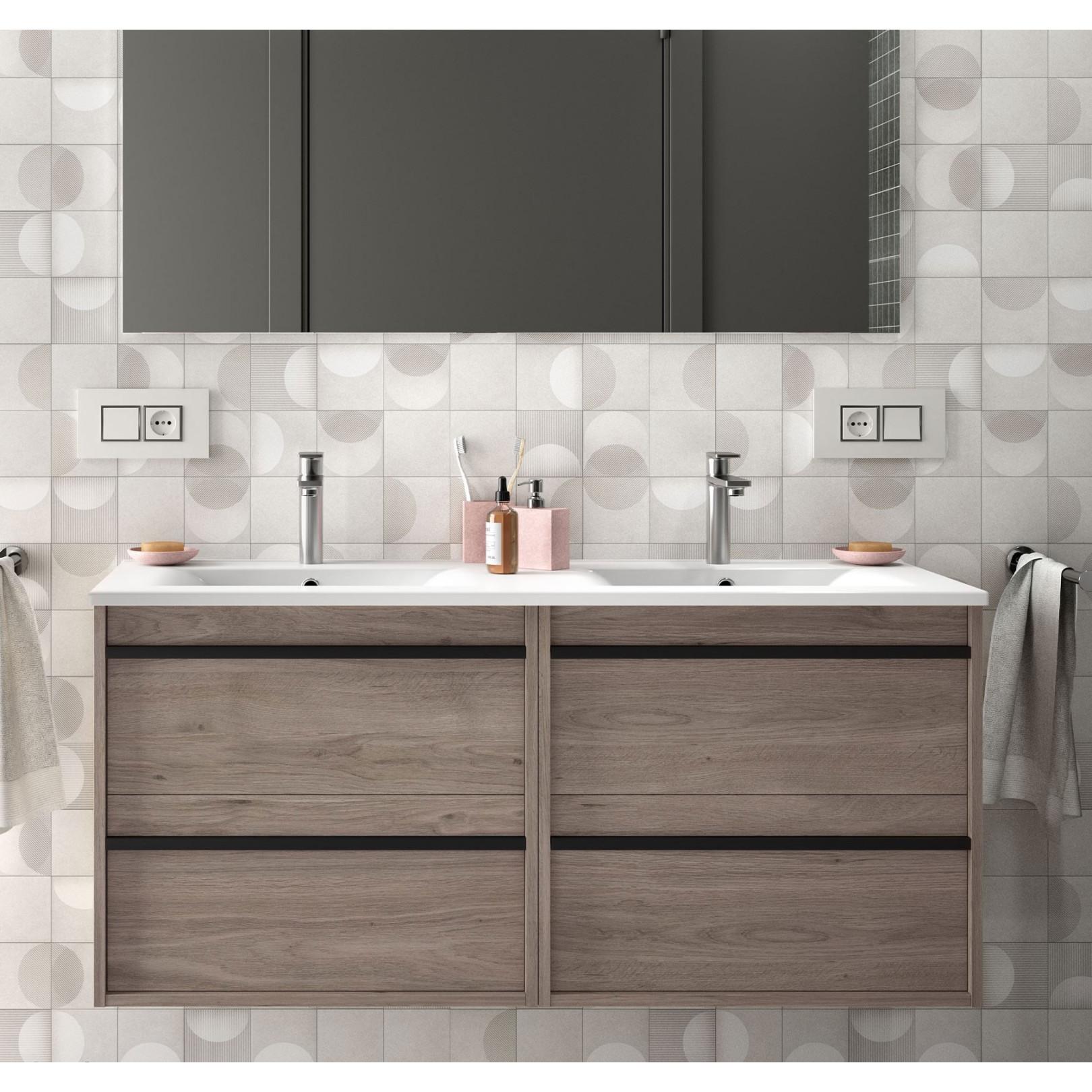 Meuble bain suspendu Noja 1200, stratifié bois ou laqué avec plan double vasque céramique