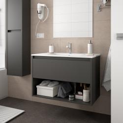 Meuble bain suspendu Noja 600, 800 et 1000, stratifié bois ou laqué avec plan vasque céramique et 1 tiroir