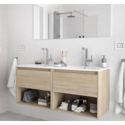 Meuble bain suspendu Noja 1200, stratifié bois ou laqué avec plan double vasque céramique et 2 tiroirs