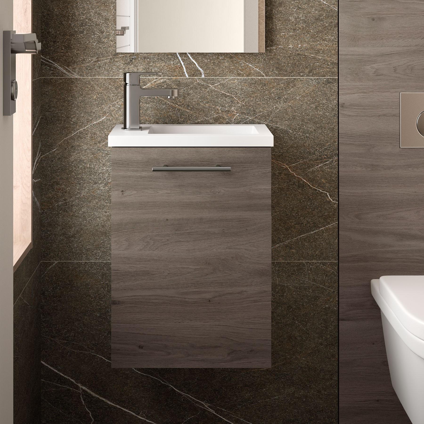 Meuble lave main suspendu Micro, stratifié bois ou laqué avec plan ...