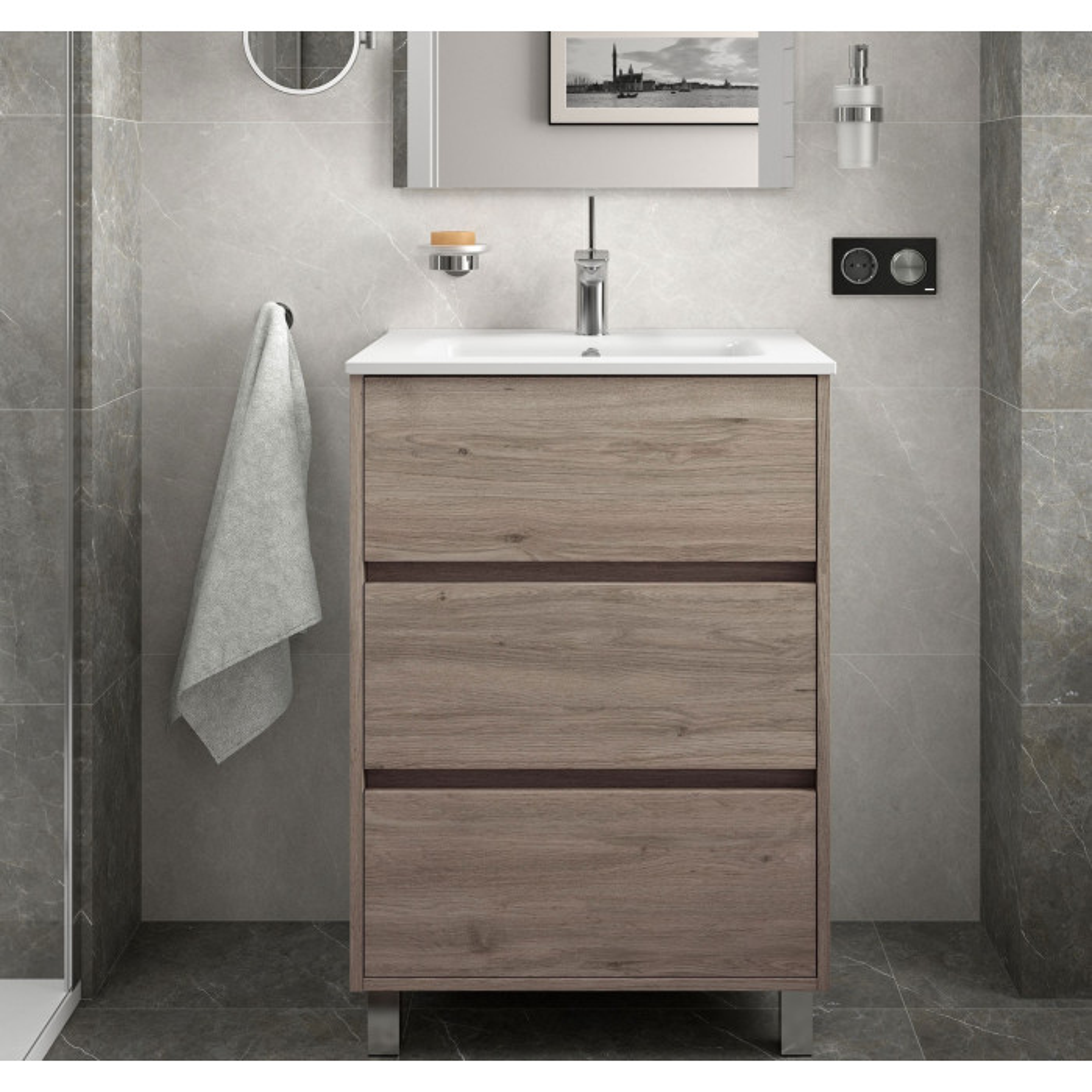 Meuble bain sur pied Arenys 600 et 800 et 1000 stratifié bois ou laqué avec plan vasque céramique et 3 tiroirs