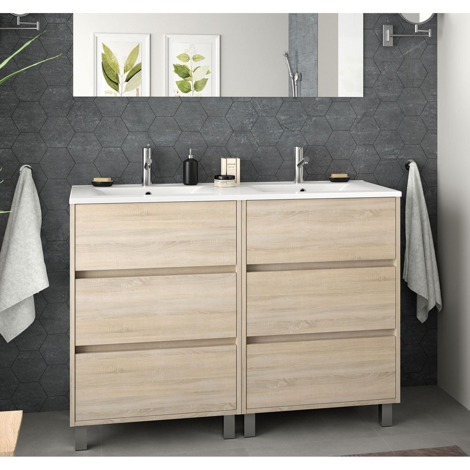 Meuble bain sur pied Arenys 1200, stratifié bois ou laqué avec plan double vasque céramique