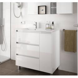 Meuble bain suspendu Arenys 855, stratifié bois ou laqué avec plan vasque céramique