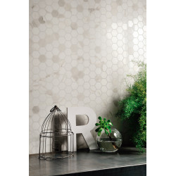 Carrelage grès cérame effet marbre Marmorea Bianco Calacatta (9 formats, 2 finitions)