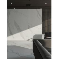 Carrelage grès cérame effet marbre blanc Calacatta (13 formats)
