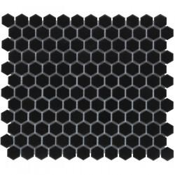 Mosaïque de porcelaine hexagone 2,6x2,3 Barcelona Black mat