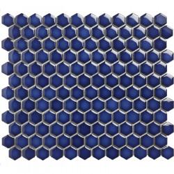 Mosaïque de porcelaine hexagone 2,6x2,3 Barcelona Cobalt briillant