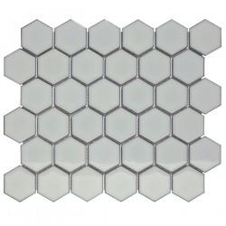 Mosaïque de porcelaine hexagone 5,9x5,1cm Barcelona Light Grey briillant