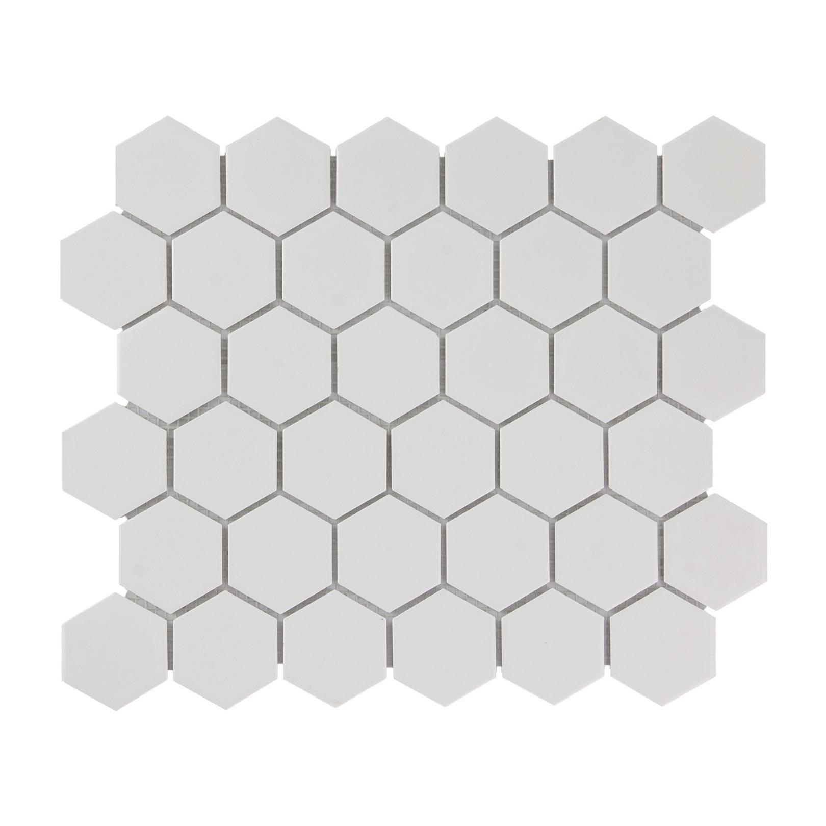 Mosaïque de porcelaine hexagone 5,9x5,1cm Barcelona Extra White briillant
