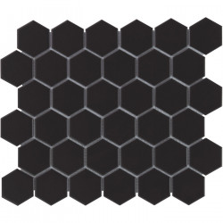 Mosaïque de porcelaine hexagone 5,9x5,1cm Barcelona Black briillant