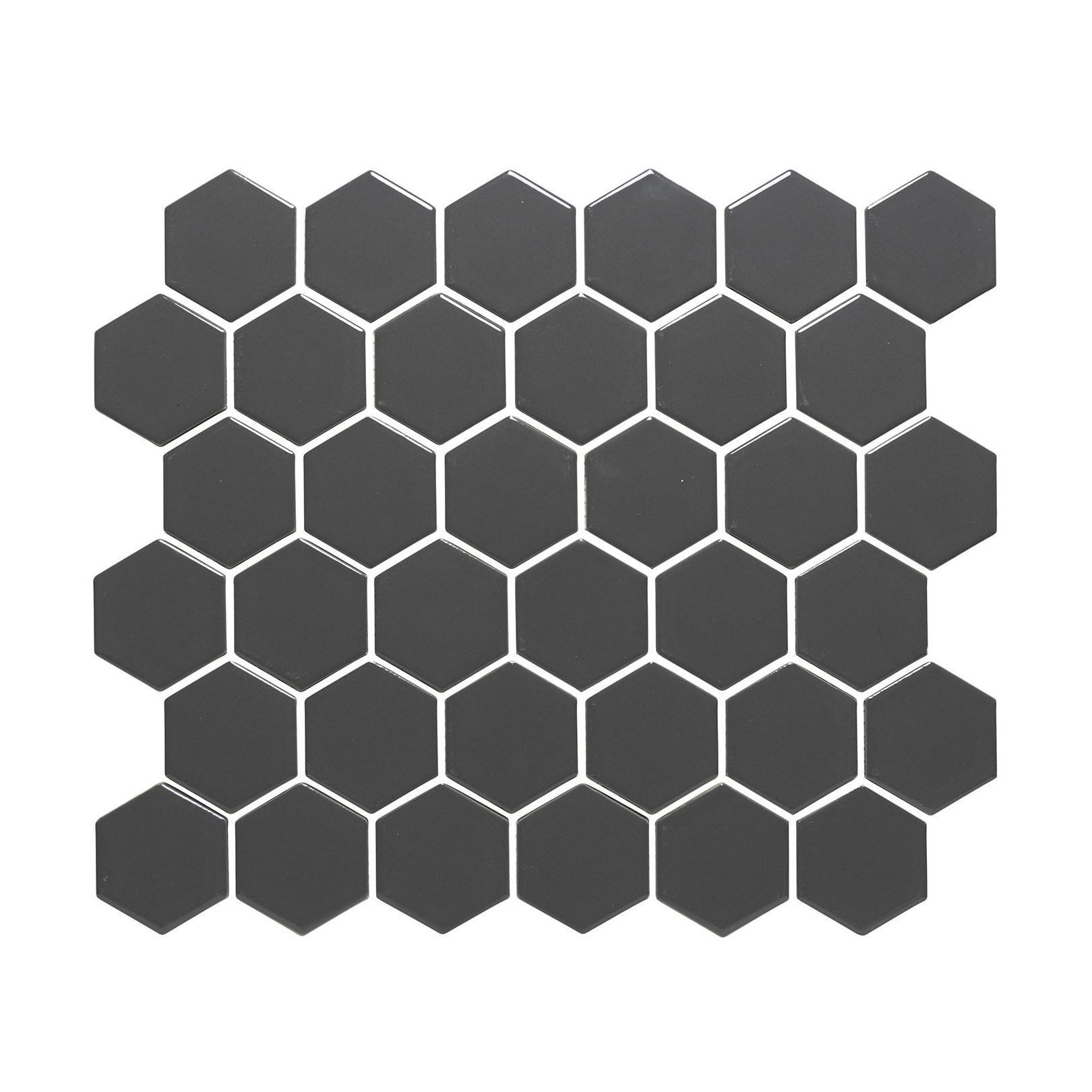 Mosaïque de porcelaine hexagone 5,9x5,1cm Barcelona Dark Grey mat