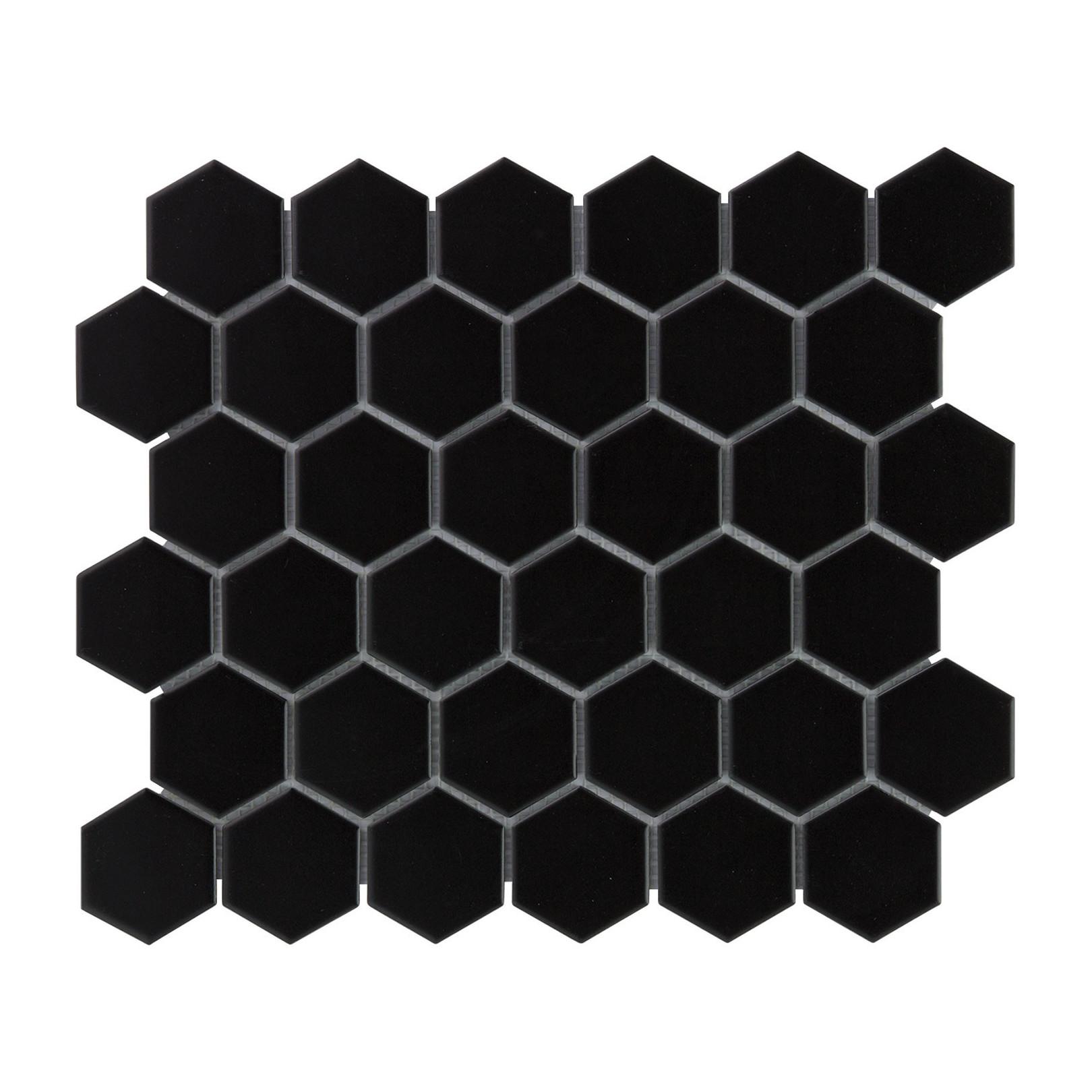 Mosaïque de porcelaine hexagone 5,9x5,1cm Barcelona Black mat