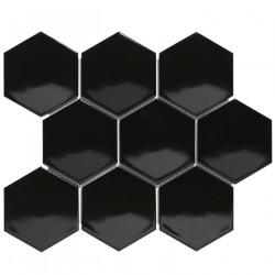 Mosaïque de porcelaine hexagone 11x9,5cm Barcelona White brillant