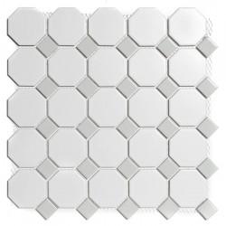 Mosaïque de porcelaine effet cabochons Paris gris et blanc