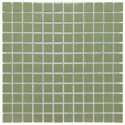 Mosaïque de grès cérame Barcelona 2,3x2,3cm Olive Green Brillant