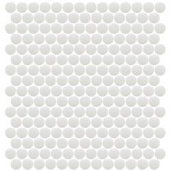 Mosaïque Unicolor ronde diamètre 2,3cm blanc 103 mat ou brillant ou antidérapant sur trame nylon 33,3x33,3cm