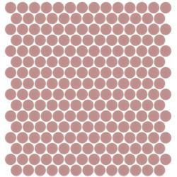 Mosaïque Unicolor ronde diamètre 2,3cm Rose 166 mat ou brillant ou antidérapant sur trame nylon 33,3x33,3cm