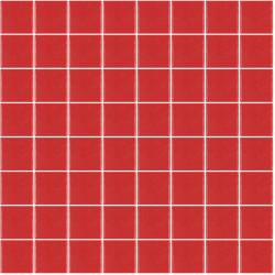 Mosaïque Unicolor ronde diamètre 2,3cm rouge 176 mat ou brillant ou antidérapant sur trame nylon 33,2x33,2cm