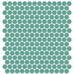 Mosaïque Unicolor ronde diamètre 2,3cm turquoise 222 mat ou brillant ou antidérapant sur trame nylon 33,3x33,3cm
