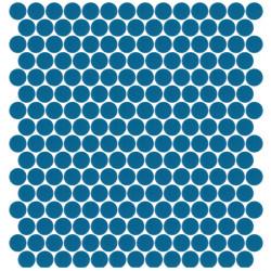 Mosaïque Unicolor ronde diamètre 2,3cm bleu 240 mat ou brillant ou antidérapant sur trame nylon 33,3x33,3cm