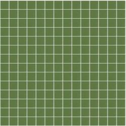 Mosaïque Unicolor 2,3x2,3cm vert australien 221 mat ou brillant ou antidérapant sur trame nylon 33,3x33,3cm