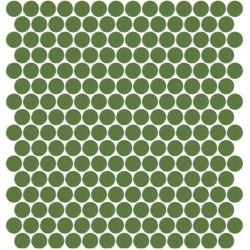 Mosaïque Unicolor ronde diamètre 2,3cm vert australien 221 mat ou brillant ou antidérapant sur trame nylon 33,3x33,3cm