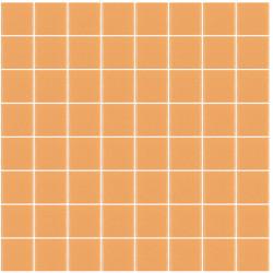 Mosaïque Unicolor carré 3,8x3,8cm 326 orange pastel mat ou brillant ou antidérapant sur trame nylon 32x32cm