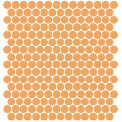 Mosaïque Unicolor ronde diamètre 2,3cm orange pastel 326 mat ou brillant ou antidérapant sur trame nylon 33,3x33,3cm
