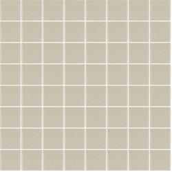 Mosaïque Unicolor carré 3,8x3,8cm greige 325 mat ou brillant ou antidérapant sur trame nylon 32x32cm