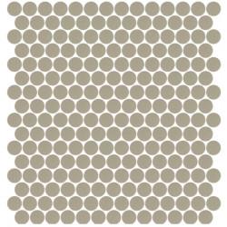 Mosaïque Unicolor ronde diamètre 2,3cm greige 327 mat ou brillant ou antidérapant sur trame nylon 33,3x33,3cm