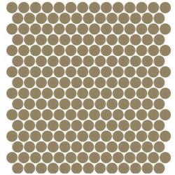 Mosaïque Unicolor ronde diamètre 2,3cm Marron pâle 328 mat ou brillant ou antidérapant sur trame nylon 33,3x33,3cm