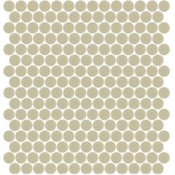 Mosaïque Unicolor ronde diamètre 2,3cm Amande 329 mat ou brillant ou antidérapant sur trame nylon 33,3x33,3cm