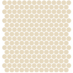 Mosaïque Unicolor ronde diamètre 2,3cm beige foncé 331 mat ou brillant ou antidérapant sur trame nylon 33,3x33,3cm