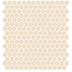 Mosaïque Unicolor ronde diamètre 2,3cm vanille 333 mat ou brillant ou antidérapant sur trame nylon 33,3x33,3cm