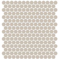 Mosaïque Unicolor ronde diamètre 2,3cm taupe 334 mat ou brillant ou antidérapant sur trame nylon 33,3x33,3cm