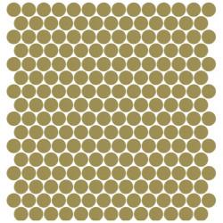 Mosaïque Unicolor ronde diamètre 2,3cm kaki moyen 337 mat ou brillant ou antidérapant sur trame nylon 33,3x33,3cm