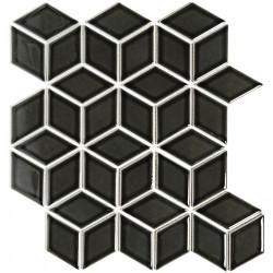 Mosaïque de grès cérame Paris 3D Cubic 8,1x4,8cm Black brillant