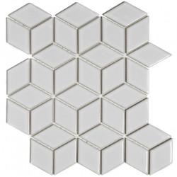 Mosaïque de grès cérame Paris 3D Cubic 8,1x4,8cm White brillant