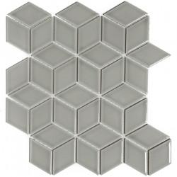 Mosaïque de grès cérame Paris 3D Cubic 8,1x4,8cm Light Grey brillant