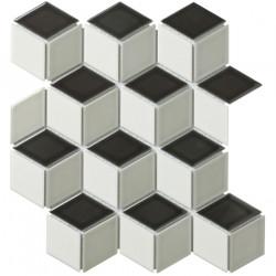 Mosaïque de grès cérame Paris 3D Cubic 8,1x4,8cm Light Grey, black & White brillant